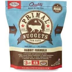 Primal Raw Frozen Feline Nuggets Rabbit Formula Cat Food, 3-lb SKU 5033400413