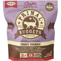 Primal Raw Frozen Feline Nuggets Turkey Formula Cat Food, 3-lb SKU 5033400414