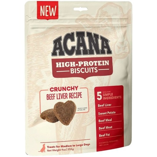 ACANA High-Protein Biscuits Crunchy Beef Liver Recipe, Medium & Large Breed, 9-oz SKU 6499271532