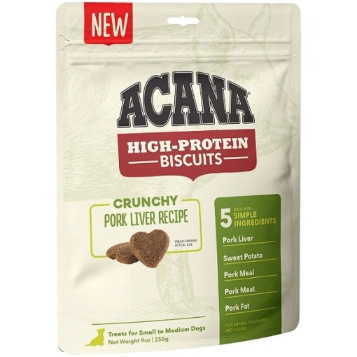 ACANA High-Protein Biscuits Crunchy Pork Liver Recipe Dog Treats, Medium & Large Breed, 9-oz bag