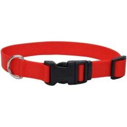 Coastal Adjustable Dog Collar with Plastic Buckle, Red, 1 in X 26 in. SKU 7648404801