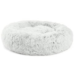 Best Friends by Sheri The Original Calming Shag Fur Donut Cuddler Cat & Dog Bed, Frost, Medium SKU 1740302502