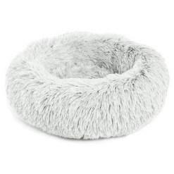 Best Friends by Sheri The Original Calming Shag Fur Donut Cuddler Cat & Dog Bed, Frost, Small SKU 1740302516