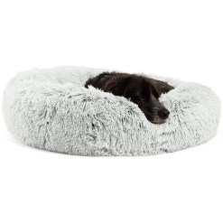 Best Friends by Sheri The Original Calming Shag Fur Donut Cuddler Cat & Dog Bed, Frost
