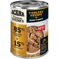 Acana Premium Chunks Poultry Recipe in Bone Broth Canned Dog Food, 12.8-oz