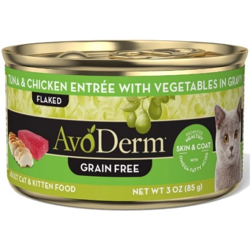 AvoDerm Natural Grain-Free Tuna & Chicken Entree with Vegetables Canned Cat Food, 3-oz SKU 5290702217