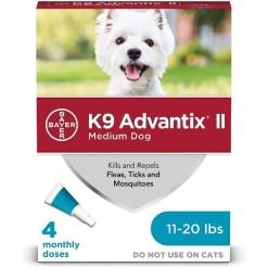 K9 Advantix II Flea & Tick Spot Treatment for Dogs, 11-20 lbs, 4 Pack SKU 2408920372
