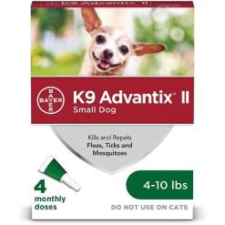 K9 Advantix II Flea & Tick Spot Treatment for Dogs, 4-10 lbs, 4 Pack SKU 2408920348
