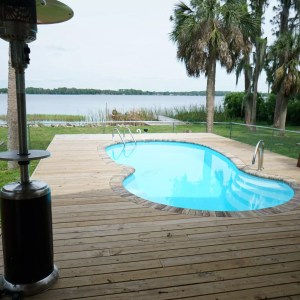 Laguna 11' x 23' Pettit Fiberglass Pool with deck