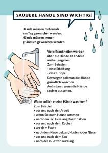 Anleitung zum Hände waschen in Leichter Sprache für die Behindertenhilfe