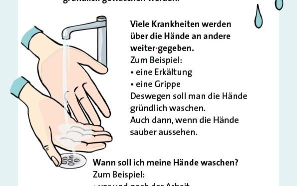 Anleitung zum Händewaschen in Leichter Sprache für die Behindertenhilfe