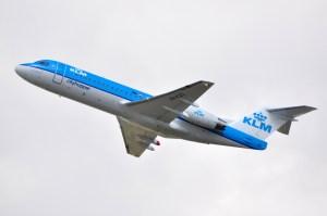 Un Fokker 70 F-28 de KLM. L'empennage en T est la seule configuration qui permet le deep stall.