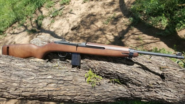 M1 Carbine on a log