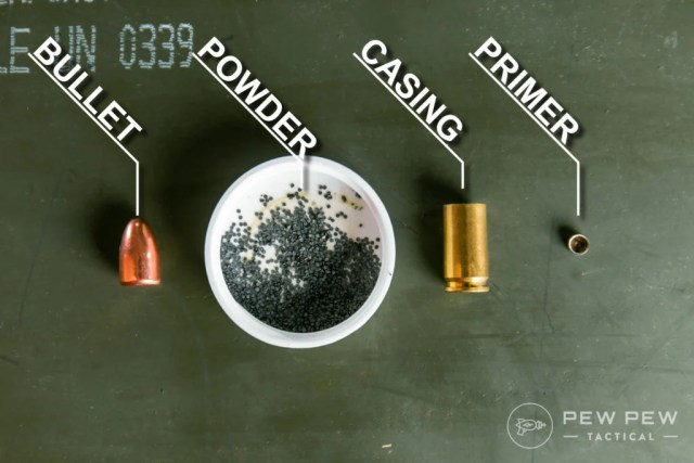 Deconstructed 9mm Cartridge