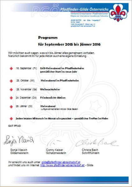 Gilde Programm 2015 !