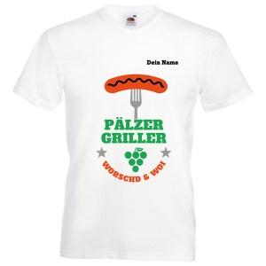 PFALZFANS Pfälzer Schorle-Weinfest-T-Shirt Pälzer Griller Worschd unn Woi Grill