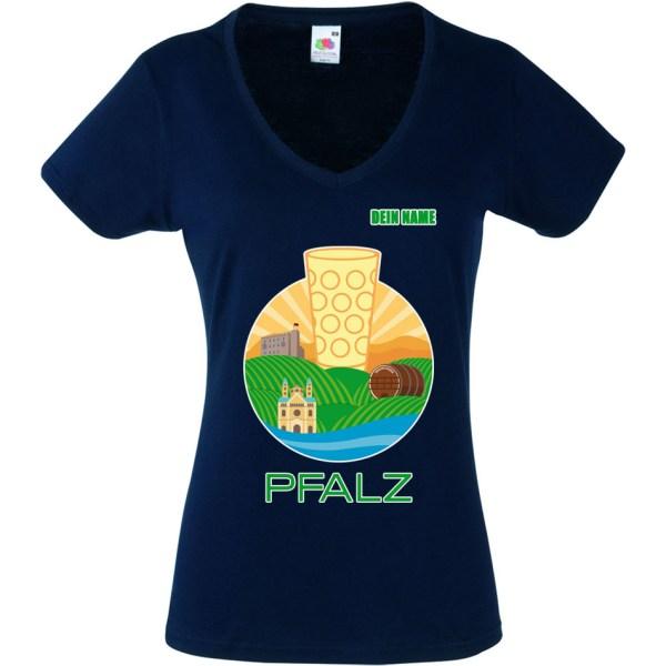 PFALZFANS Pfälzer Schorle-Weinfest-T-Shirt PFALZ-PANORAMA Speyerer Dom Hambacher Schloss Weinstraße Weinberge Haardt Dürkheimer Riesenfass