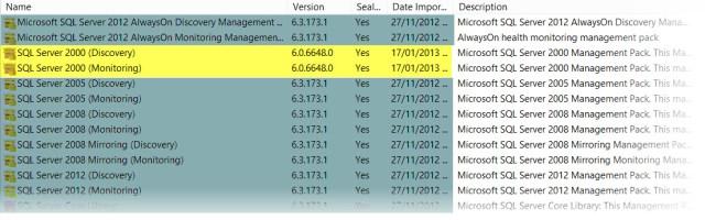 Management Pack SQL 2000