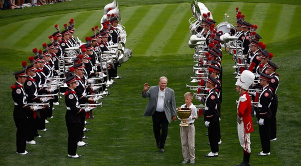 Presidents Cup host Jack Nicklaus with the Ohio State University marching band at Muirfield Village in 2013 (Gregory Shamus/Getty Images)