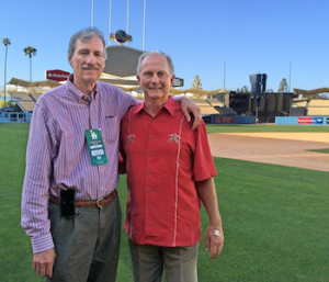 Award winning author Steven K. Wagner and John Paciorek in Dodger Stadium. Photo courtesy of Rolco Sports & Entertainment