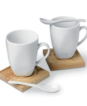 2 Ceramic mugs and spoon giftset with wooden coasters in a black gift box and clear lid.