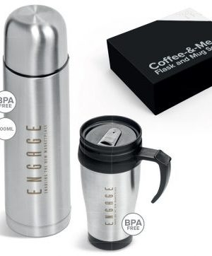Coffee-&-Me Flask and Stainles Steel Mug Set