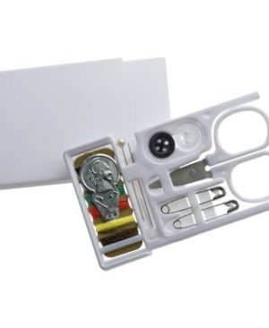 Compact plastic sewing kit