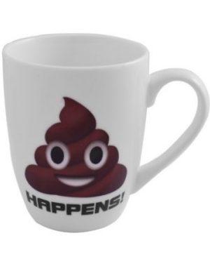 Emoji Oval Cone Mug - Poop Happens
