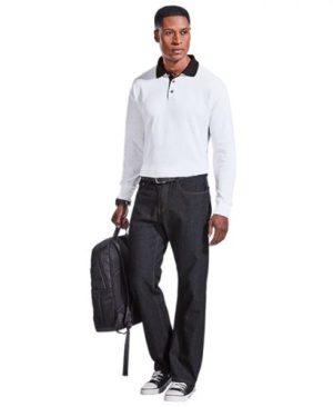 Archer Long Sleeve Golfer - Avail in: Black/Khaki