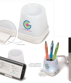 Luminate 3-in-1 Desk Caddy - White