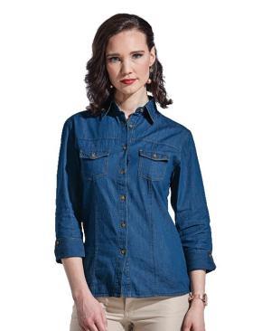 Barron Ladies Denver Denim Blouse - Avail in: Black or Dark Denim