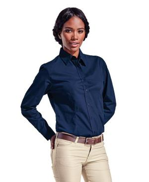 Barron Ladies Basic Poly Cotton Blouse Long Sleeve - Avail in: Black