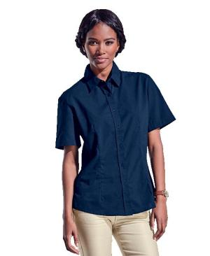 Barron Ladies Basic Poly Cotton Blouse Short Sleeve - Avail in: Black