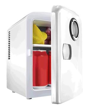6 Can Mini-Fridge With Built In Bluetooth Speaker - Avail in: White