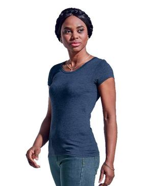 Barron Ladies Melange Crew Neck T-Shirt - Avail in: Blue Melange