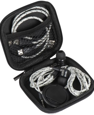 Zip-closure travel set featuring a Micro-USB