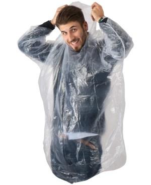 Transparent disposable emergency rain poncho - pocket size