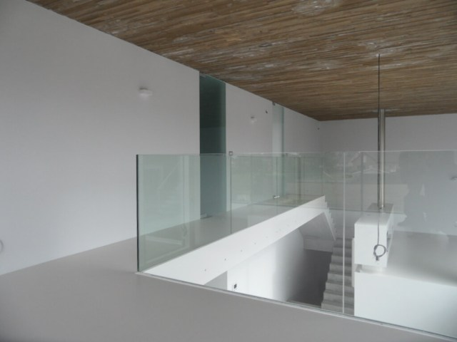Pglas - Glazen balustrade trapleuning stalen glasklem helder glas 008