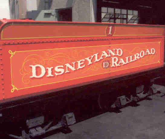 This Disneyland railroad tender was designed and drawn on paper then hand lettered with enamel