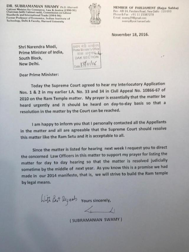 SS letter to NaMo