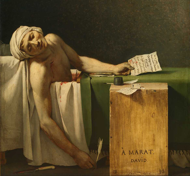 Detail from The Death of Marat (1793) by Jacques-Louis David
