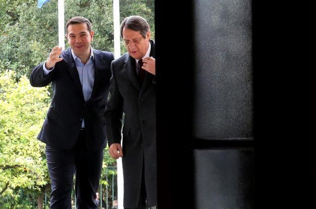 Greek Prime Minister Alexis Tsipras with Cyprus President Nicos Anastasiades