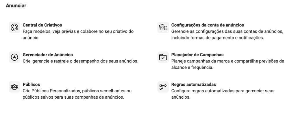 "Recurso ""Públicos"" no Facebook Business"