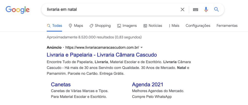 SEM - Resultado de Busca Paga (Anúncio) no Google via Google Ads