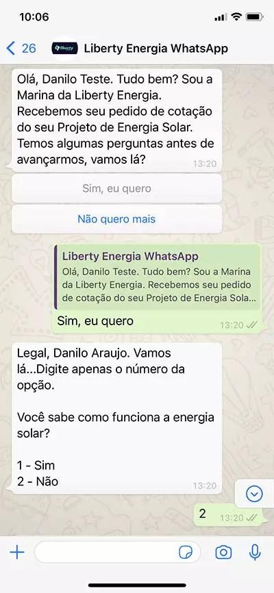Bot do WhatsApp chamando ativamente o lead na mesma hora do preenchimento do Formulário de Cotação ou Simulação