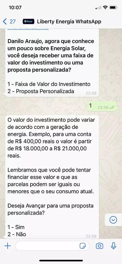 Bot respondendo dúvidas de faixa de investimento e vendo a real intenção do contato, se é curioso ou quer realmente uma proposta personalizada