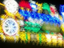 Long exposure, blurred shot of display at Blackpool Illuminations