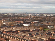Aerial view towards Salford from Longsight.