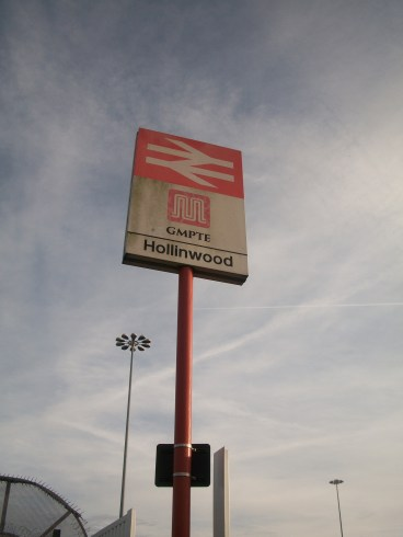 Hollinwood Rail station sign, at time of closure of line for conversion to Metrolink