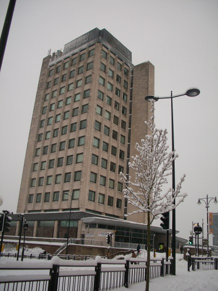 Oldham Civic Centre in the Snow